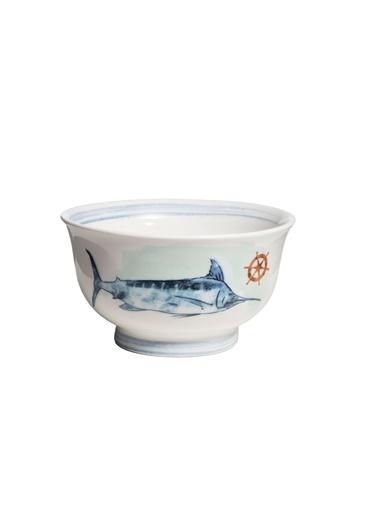 Warm Design Deniz Desenli Seramik Kase © Beyaz